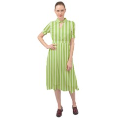 Lime Stripes Keyhole Neckline Chiffon Dress
