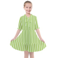 Lime Stripes Kids  All Frills Chiffon Dress by retrotoomoderndesigns