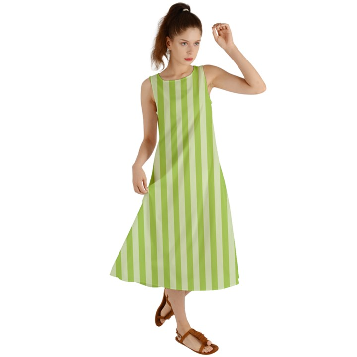 Lime Stripes Summer Maxi Dress