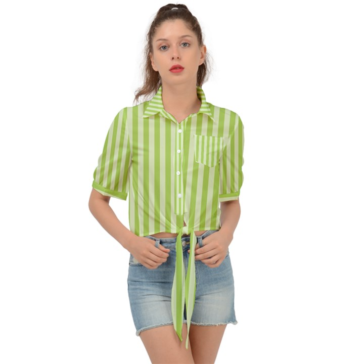 Lime Stripes Tie Front Shirt
