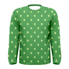 Green Polka Dots Men s Long Sleeve Tee by retrotoomoderndesigns