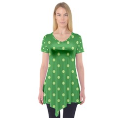 Green Polka Dots Short Sleeve Tunic  by retrotoomoderndesigns