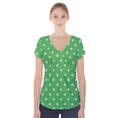 Green Polka Dots Short Sleeve Front Detail Top by retrotoomoderndesigns
