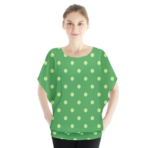 Green Polka Dots Batwing Chiffon Blouse by retrotoomoderndesigns