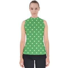 Green Polka Dots Mock Neck Shell Top by retrotoomoderndesigns