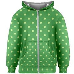 Green Polka Dots Kids  Zipper Hoodie Without Drawstring by retrotoomoderndesigns
