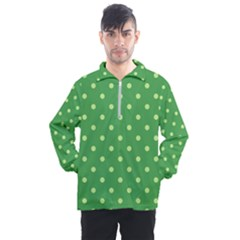 Green Polka Dots Men s Half Zip Pullover by retrotoomoderndesigns