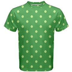 Green Polka Dots Men s Cotton Tee by retrotoomoderndesigns