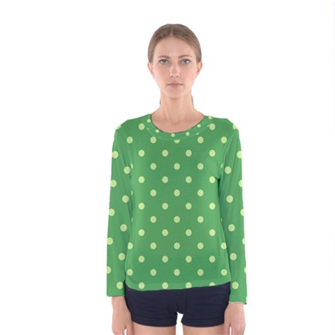 Green Polka Dots Women s Long Sleeve Tee by retrotoomoderndesigns