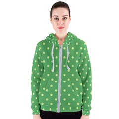 Green Polka Dots Women s Zipper Hoodie by retrotoomoderndesigns