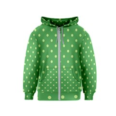 Green Polka Dots Kids  Zipper Hoodie by retrotoomoderndesigns