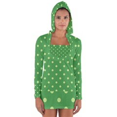 Green Polka Dots Long Sleeve Hooded T-shirt by retrotoomoderndesigns