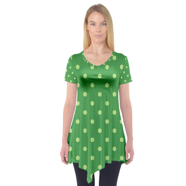 Green Polka Dots Short Sleeve Tunic