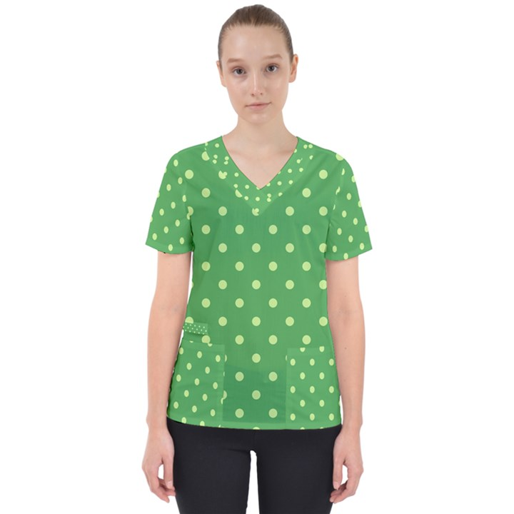 Green Polka Dots Women s V-Neck Scrub Top