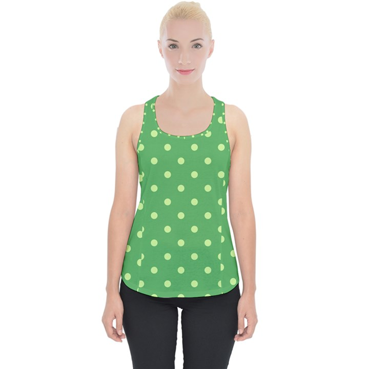 Green Polka Dots Piece Up Tank Top