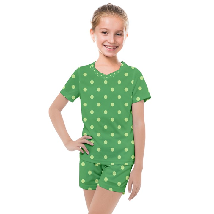 Green Polka Dots Kids  Mesh Tee and Shorts Set