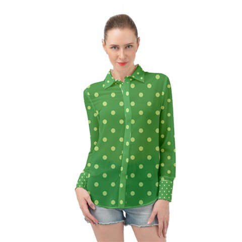 Green Polka Dots Long Sleeve Chiffon Shirt by retrotoomoderndesigns