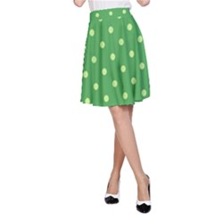 Green Polka Dots A-line Skirt by retrotoomoderndesigns