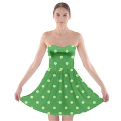 Green Polka Dots Strapless Bra Top Dress