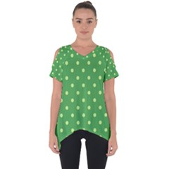 Green Polka Dots Cut Out Side Drop Tee