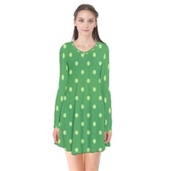Green Polka Dots Long Sleeve V-neck Flare Dress