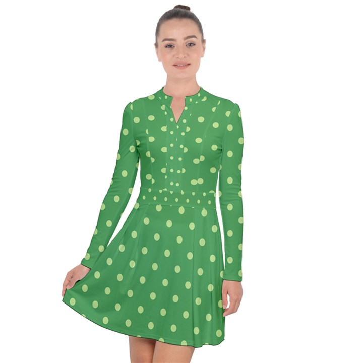 Green Polka Dots Long Sleeve Panel Dress