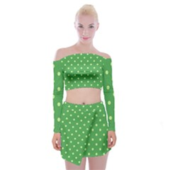 Green Polka Dots Off Shoulder Top With Mini Skirt Set