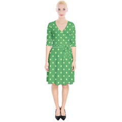 Green Polka Dots Wrap Up Cocktail Dress by retrotoomoderndesigns