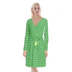 Green Polka Dots Long Sleeve Velvet Front Wrap Dress by retrotoomoderndesigns
