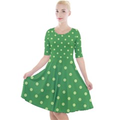 Green Polka Dots Quarter Sleeve A-line Dress by retrotoomoderndesigns