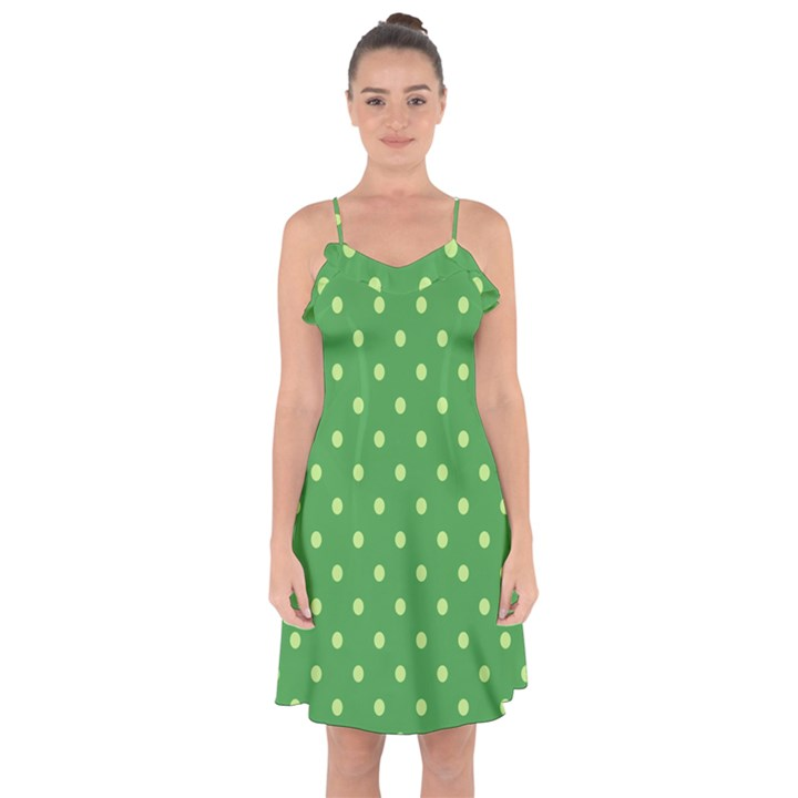 Green Polka Dots Ruffle Detail Chiffon Dress