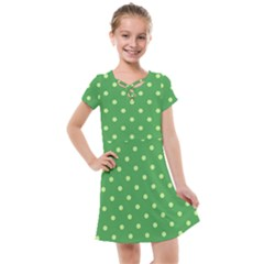 Green Polka Dots Kids  Cross Web Dress