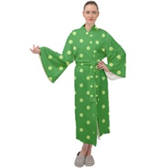 Green Polka Dots Maxi Velour Kimono by retrotoomoderndesigns