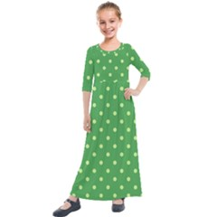 Green Polka Dots Kids  Quarter Sleeve Maxi Dress by retrotoomoderndesigns