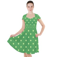 Green Polka Dots Cap Sleeve Midi Dress by retrotoomoderndesigns