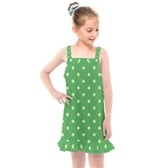 Green Polka Dots Kids  Overall Dress by retrotoomoderndesigns