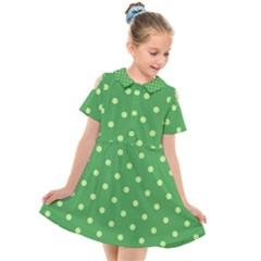 Green Polka Dots Kids  Short Sleeve Shirt Dress by retrotoomoderndesigns