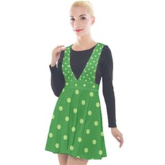 Green Polka Dots Plunge Pinafore Velour Dress