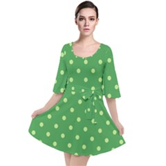 Green Polka Dots Velour Kimono Dress