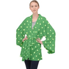Green Polka Dots Long Sleeve Velvet Kimono  by retrotoomoderndesigns