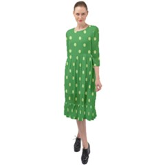 Green Polka Dots Ruffle End Midi Chiffon Dress
