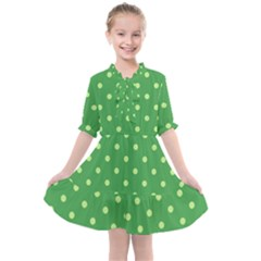 Green Polka Dots Kids  All Frills Chiffon Dress by retrotoomoderndesigns