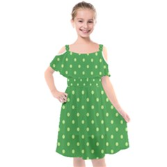 Green Polka Dots Kids  Cut Out Shoulders Chiffon Dress by retrotoomoderndesigns