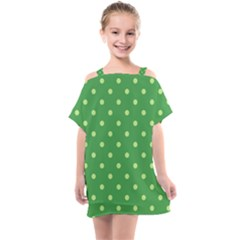 Green Polka Dots Kids  One Piece Chiffon Dress by retrotoomoderndesigns