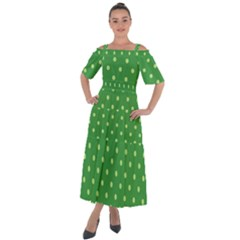 Green Polka Dots Shoulder Straps Boho Maxi Dress
