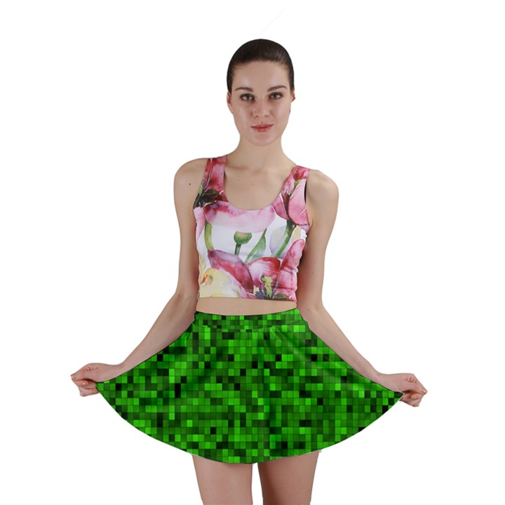 Green Mosaic Mini Skirt
