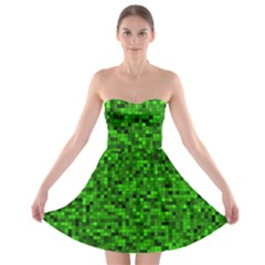 Green Mosaic Strapless Bra Top Dress by retrotoomoderndesigns