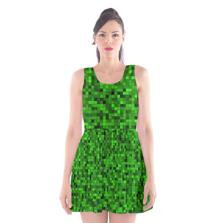 Green Mosaic Scoop Neck Skater Dress