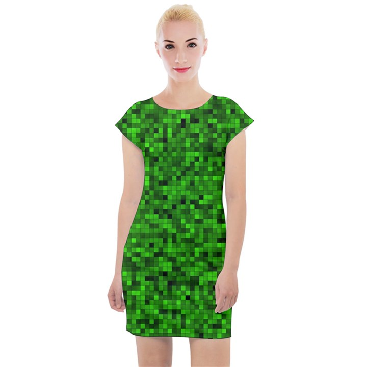 Green Mosaic Cap Sleeve Bodycon Dress