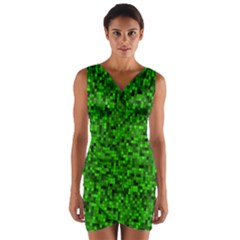 Green Mosaic Wrap Front Bodycon Dress by retrotoomoderndesigns